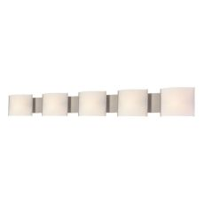 Pannelli 5 Light Vanity In Stainless Steel And Hand-Moulded White Opal Glass
