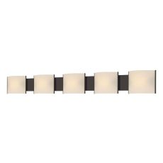 Pannelli 5 Light Vanity In Oil Rubbed Bronze And Hand-Moulded White Opal Glass