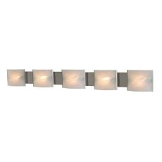 Pannelli 5 Light Vanity In Stainless Steel And Hand-Moulded White Alabaster Glass