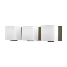 Borg 3 Light Vanity In Oil Rubbed Bronze And White Opal Glass