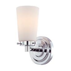 Madison 1 Light Vanity In Chrome And White Opal Glass