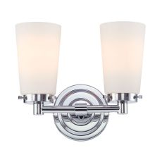 Madison 2 Light Vanity In Chrome And White Opal Glass