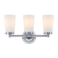 Madison 3 Light Vanity In Chrome And White Opal Glass