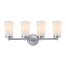 Madison 4 Light Vanity In Chrome And White Opal Glass