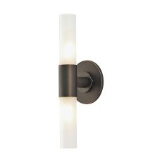Double Cylinder 2 Light Vanity In Oil Rubbed Bronze And White Opal Glass