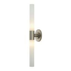 Long Cylinder 2 Light Vanity In Matte Satin Nickel And White Opal Glass
