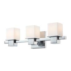 Lexington 3 Light Vanity In Chrome And White Opal Glass