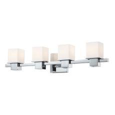 Lexington 4 Light Vanity In Chrome And White Opal Glass