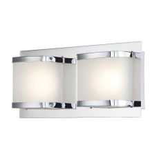 Bandeaux 2 Light Led Vanity In Chrome And Opal Glass