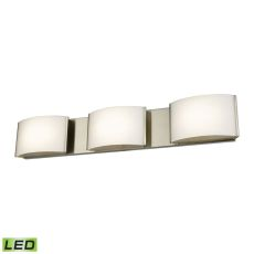 Pandora Led 3 Light Led Vanity In Satin Nickel And Opal Glass