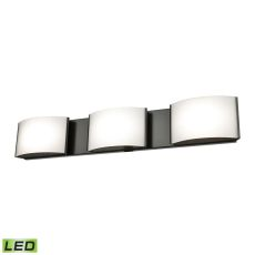 Pandora Led 3 Light Led Vanity In Oiled Bronze And Opal Glass