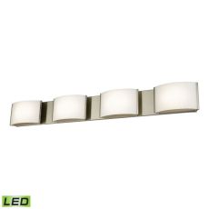 Pandora Led 4 Light Led Vanity In Satin Nickel And Opal Glass