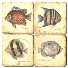 Four Fish marble coasters