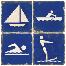 Beach Activities Marble Coasters S4