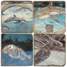 Sea Life Marble Coasters S/4