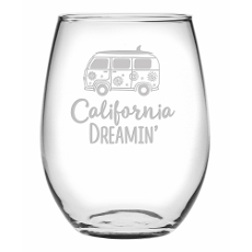 Californis Dreamin' Etched Stemless Wine Glass Set