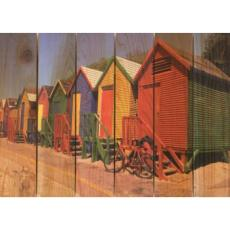 Colored Cabanas Wood Art