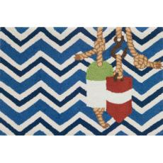 Chevron and Buoys Accent Rug