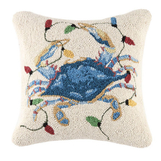 Christmas Crab Lights Hook Pillow