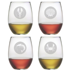 Clambake Circle Etched Stemless Wine Glass Set