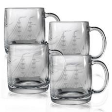 Clipper Ship Etched Coffee Mug Glass Set