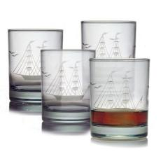 Clipper Ship Etched Dor Glass Set