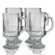 Clipper Ship Etched Footed Mug Glass Set