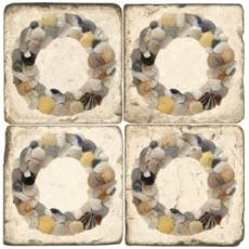 Shell Wreath Marble Coasters Set of 4