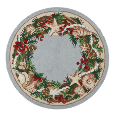 Coastal Christmas Round Rug