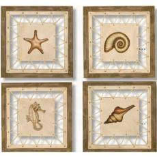 Driftwood Framed Sea Life Art Set of  4
