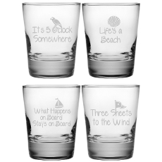 Coastal Sayings Double Old Fashion Glass Assortment S/4