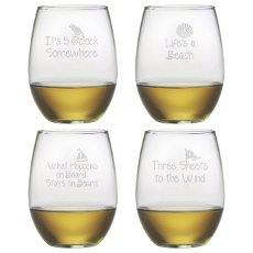 Coastal Sayings Stemless Wine Glass Assortment S/4