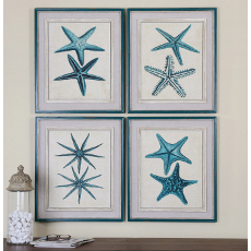 Coastal Starfish Wall Art  S/4