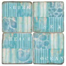 Coastal Collage Beach Coasters (set of 4)