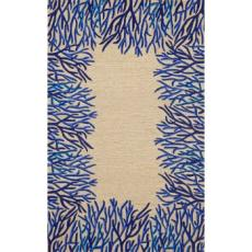 Coral Cobalt Border Indoor Outdoor Rug