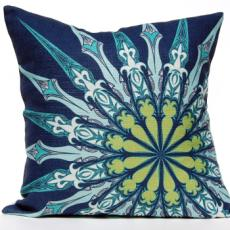 Ornate Compass Pillow - Navy