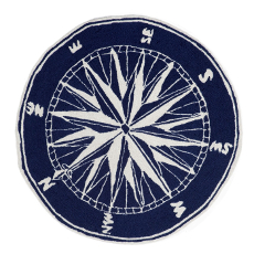 Compass Navy Indoor Outdoor Round Rug