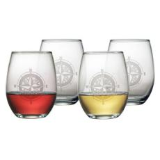 Compass Etched Stemless Wine Glass Set
