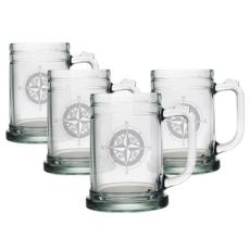 Compass Etched Tankard Beer Mug Set