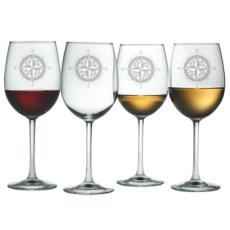 Compass Etched Stemmed Wine Glass Set
