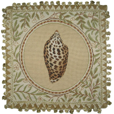 Conus Shell Needlepoint Pillow