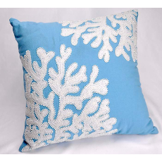 Cottage Blue Linen Beaded Coral Pillow