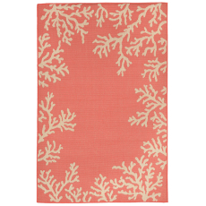 Terrace Coral Border Coral Indoor Outdoor Rug