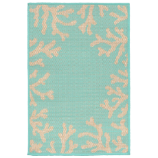 Coral Border Turquoise Indoor / Outdoor Rug
