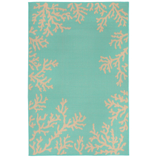 Terrace Coral Border Turquoise Indoor Outdoor Rug