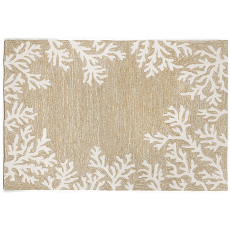 Coral Border Neutral Rug Indoor Outdoor Rug
