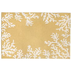 Coral Border Yellow Rug Indoor Outdoor Rug