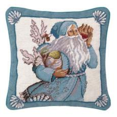 Coral And Shells Santa Needlepoint Pillow