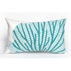 Coral Fan Aqua Indoor Outdoor Oblong Pillow