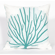 Coral Fan Aqua Indoor Outdoor Pillow